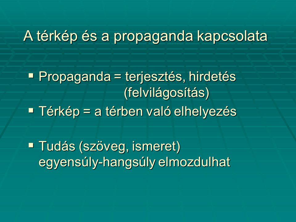  Propaganda = terjesztés, hirdetés (felvilágosítás)  Térkép = a térben való elhelyezés  Tudás (szöveg, ismeret) egyensúly-hangsúly elmozdulhat A térkép és a propaganda kapcsolata