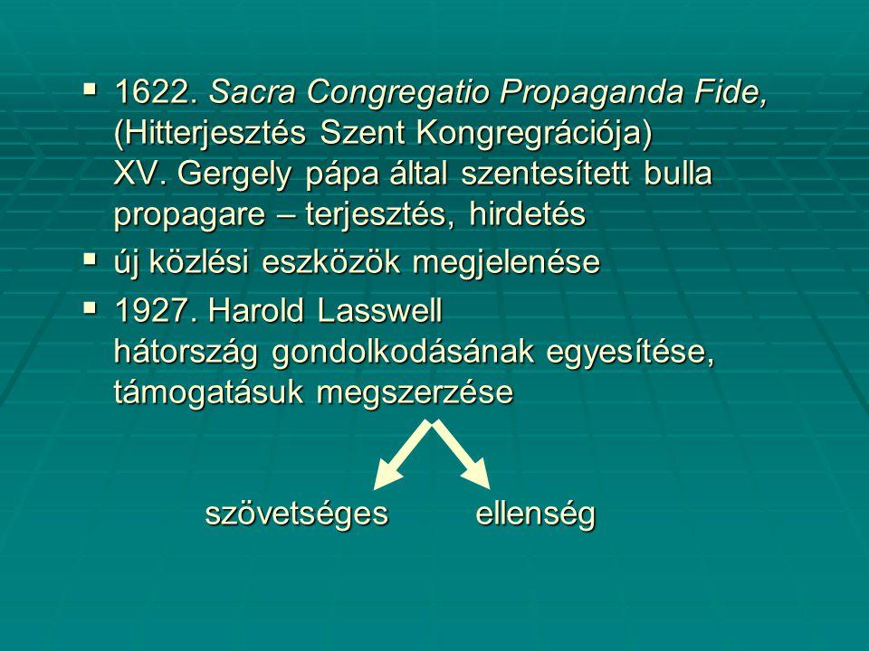  1622. Sacra Congregatio Propaganda Fide, (Hitterjesztés Szent Kongregrációja) XV.
