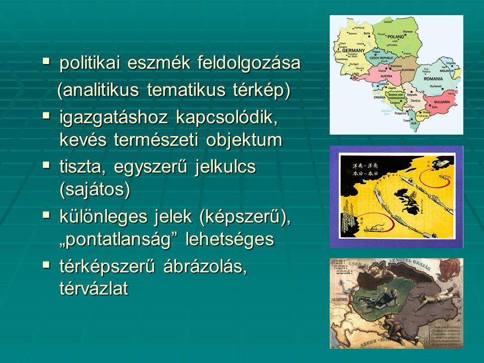 """ politikai eszmék feldolgozása (analitikus tematikus térkép) (analitikus tematikus térkép)  igazgatáshoz kapcsolódik, kevés természeti objektum  tiszta, egyszerű jelkulcs (sajátos)  különleges jelek (képszerű), """"pontatlanság lehetséges  térképszerű ábrázolás, térvázlat"""