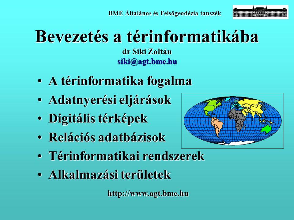Bevezetés a térinformatikába dr Siki Zoltán siki@agt.bme.hu •A térinformatika fogalma •Adatnyerési eljárások •Digitális térképek •Relációs adatbázisok