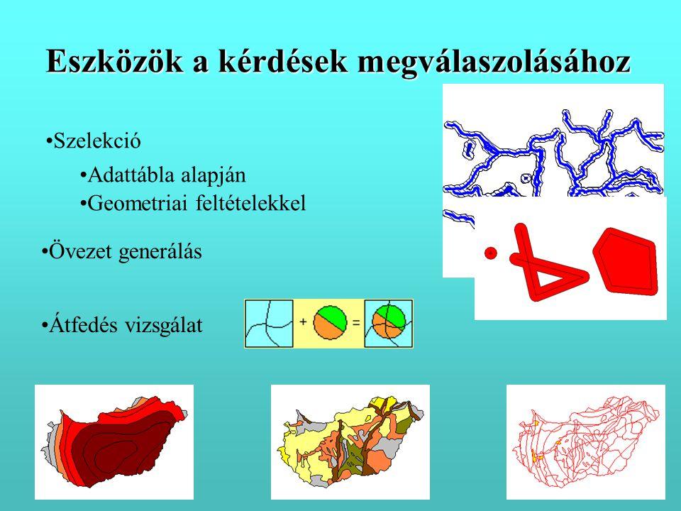 •Szelekció •Övezet generálás •Adattábla alapján •Geometriai feltételekkel •Átfedés vizsgálat Eszközök a kérdések megválaszolásához