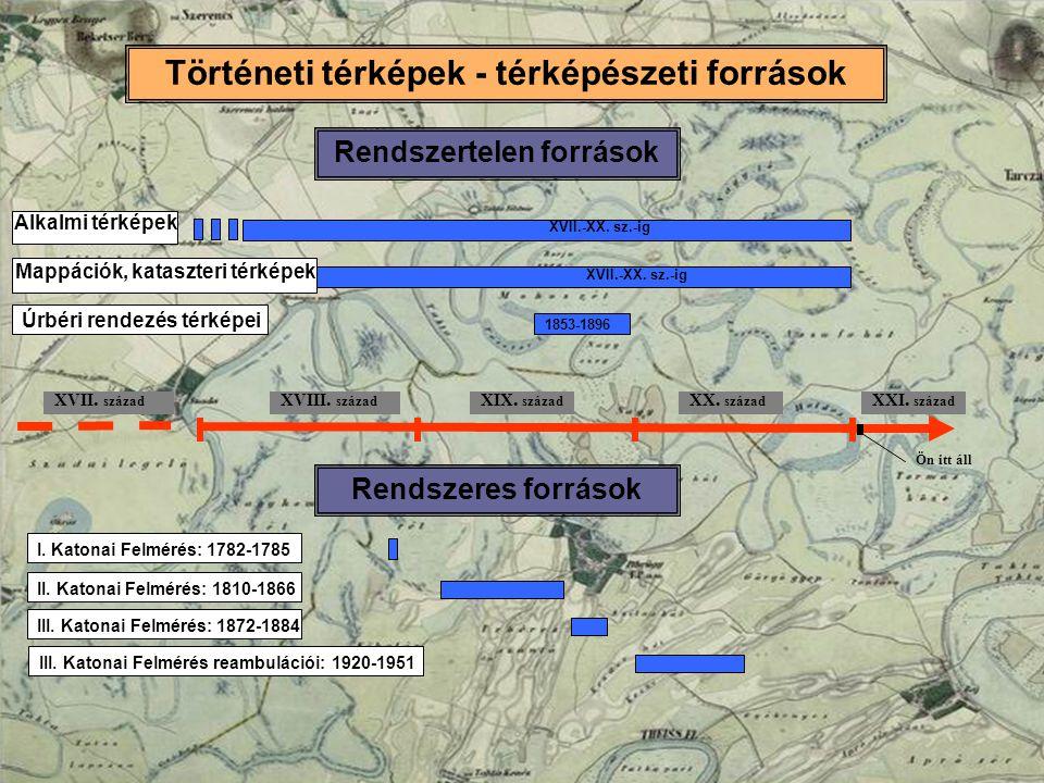 Történeti térképek - térképészeti források XVIII. század XIX. század XX. század XVII. század XXI. század Ön itt áll 1853-1896 Úrbéri rendezés térképei