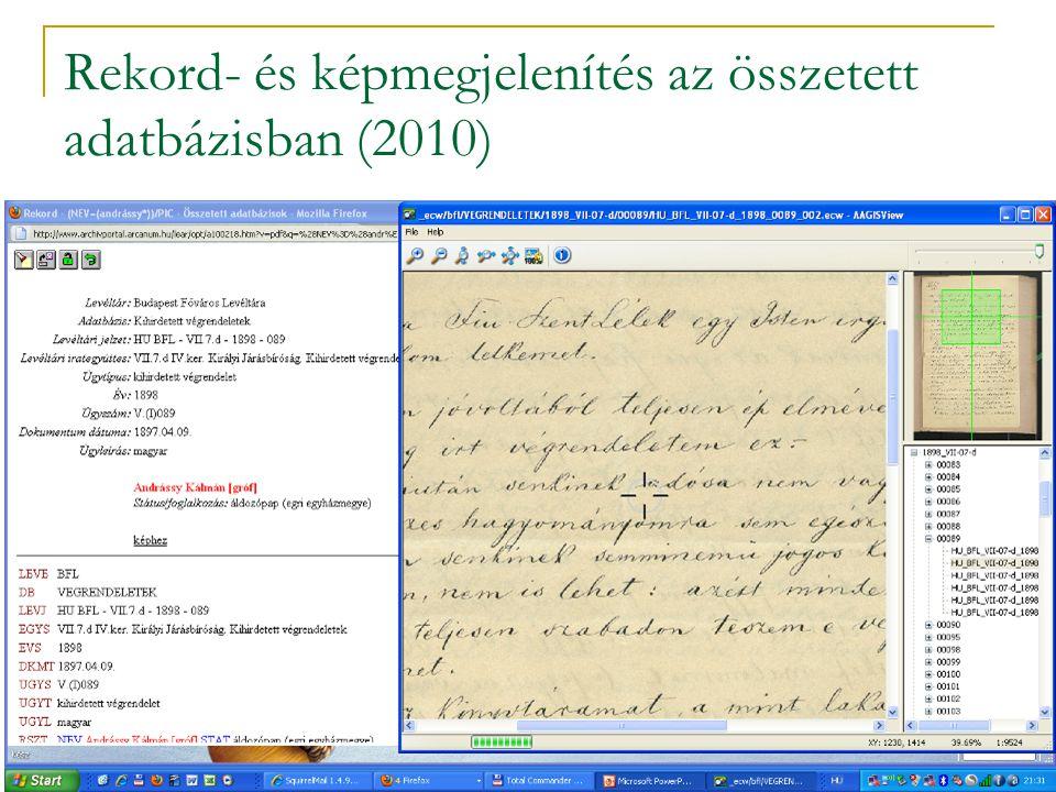 Rekord- és képmegjelenítés az összetett adatbázisban (2010)