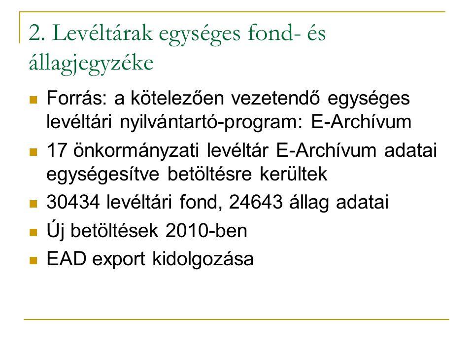 2. Levéltárak egységes fond- és állagjegyzéke  Forrás: a kötelezően vezetendő egységes levéltári nyilvántartó-program: E-Archívum  17 önkormányzati