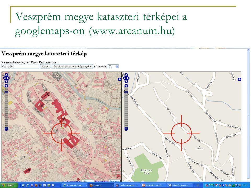 Veszprém megye kataszteri térképei a googlemaps-on (www.arcanum.hu)