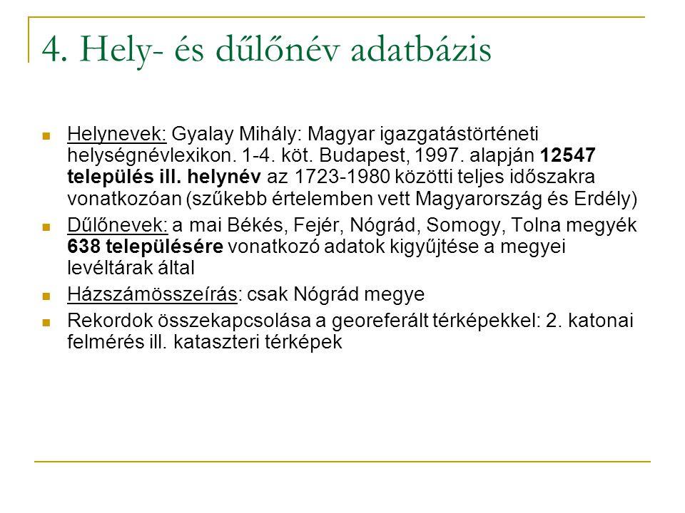 4. Hely- és dűlőnév adatbázis  Helynevek: Gyalay Mihály: Magyar igazgatástörténeti helységnévlexikon. 1-4. köt. Budapest, 1997. alapján 12547 települ
