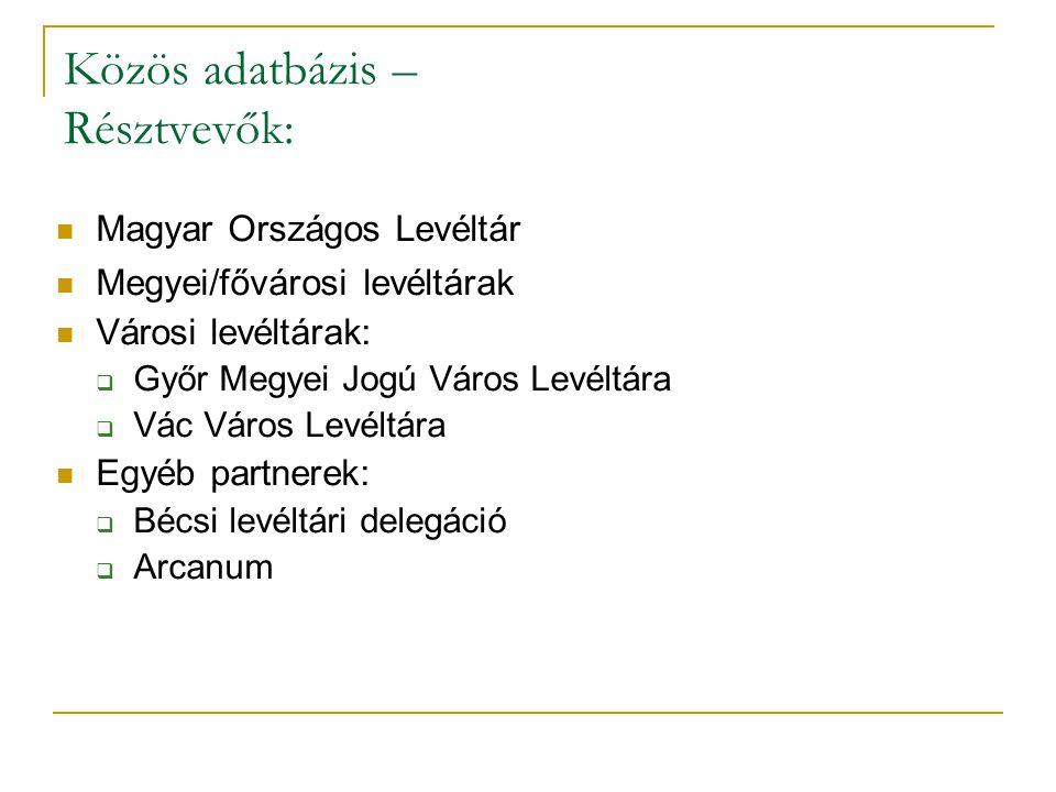 Közös adatbázis – Résztvevők:  Magyar Országos Levéltár  Megyei/fővárosi levéltárak  Városi levéltárak:  Győr Megyei Jogú Város Levéltára  Vác Vá