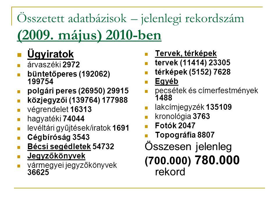 Összetett adatbázisok – jelenlegi rekordszám (2009. május) 2010-ben  Ügyiratok  árvaszéki 2972  büntetőperes (192062) 199754  polgári peres (26950