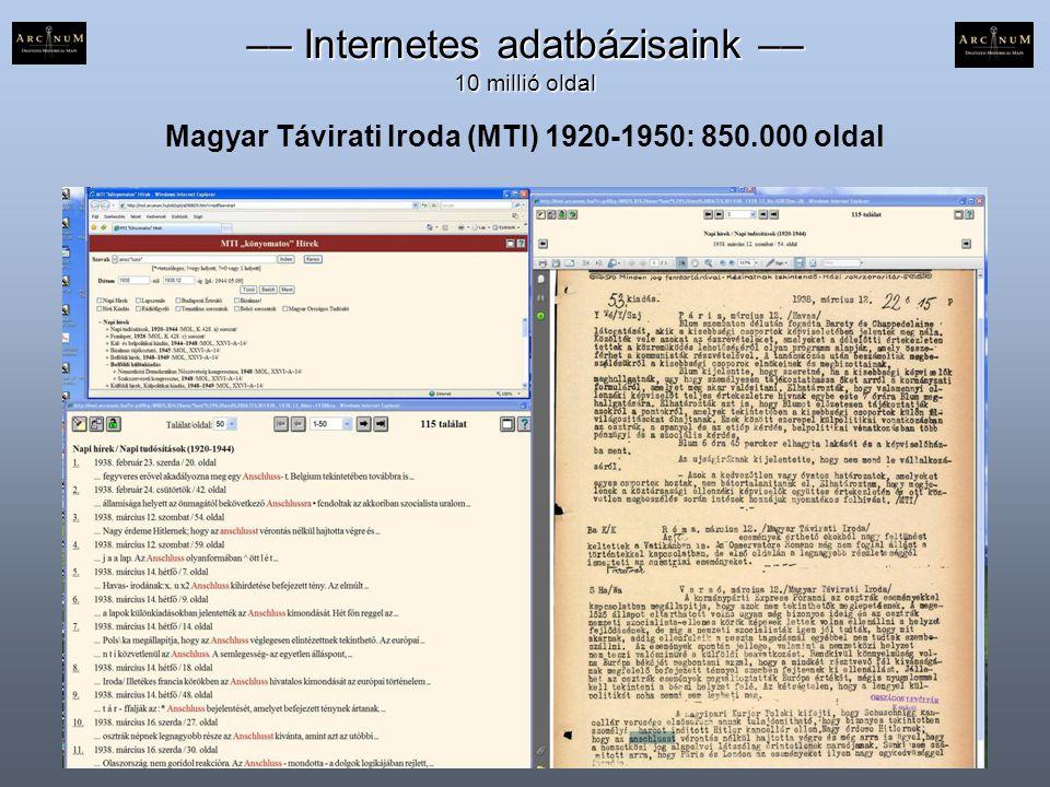 –– Internetes adatbázisaink –– 10 millió oldal Magyar Távirati Iroda (MTI) 1920-1950: 850.000 oldal