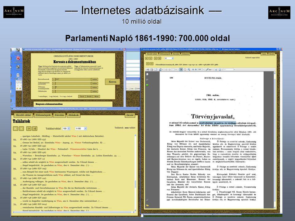 Parlamenti Napló 1861-1990: 700.000 oldal –– Internetes adatbázisaink –– –– Internetes adatbázisaink –– 10 millió oldal