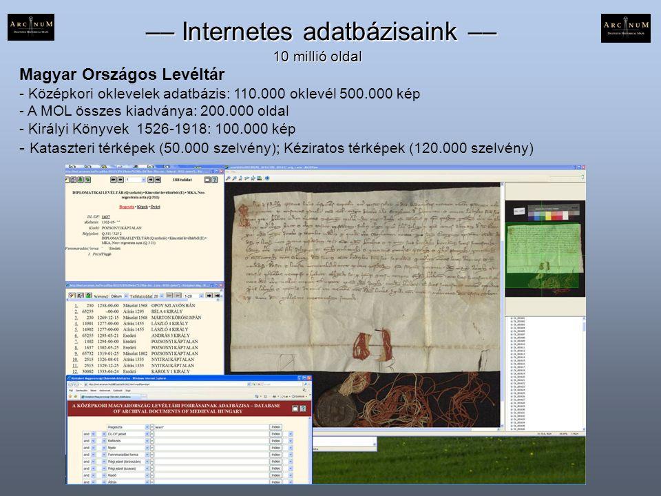 Magyar Országos Levéltár - Középkori oklevelek adatbázis: 110.000 oklevél 500.000 kép - A MOL összes kiadványa: 200.000 oldal - Királyi Könyvek 1526-1