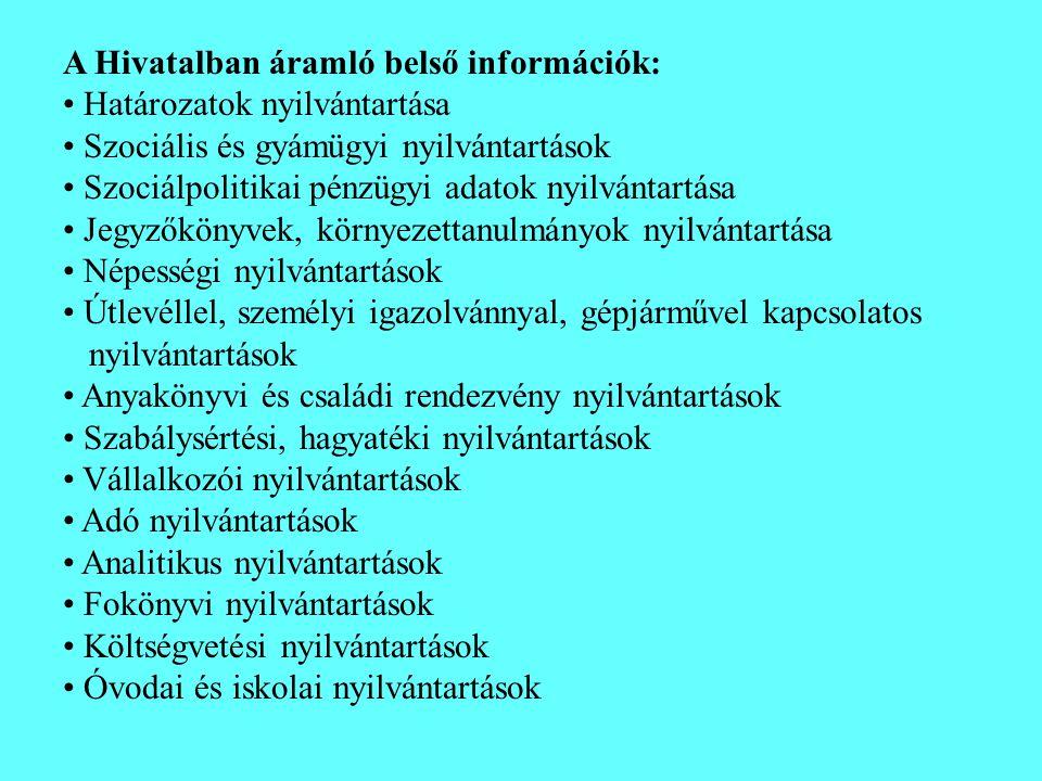 A Hivatalban áramló belső információk: • Határozatok nyilvántartása • Szociális és gyámügyi nyilvántartások • Szociálpolitikai pénzügyi adatok nyilván