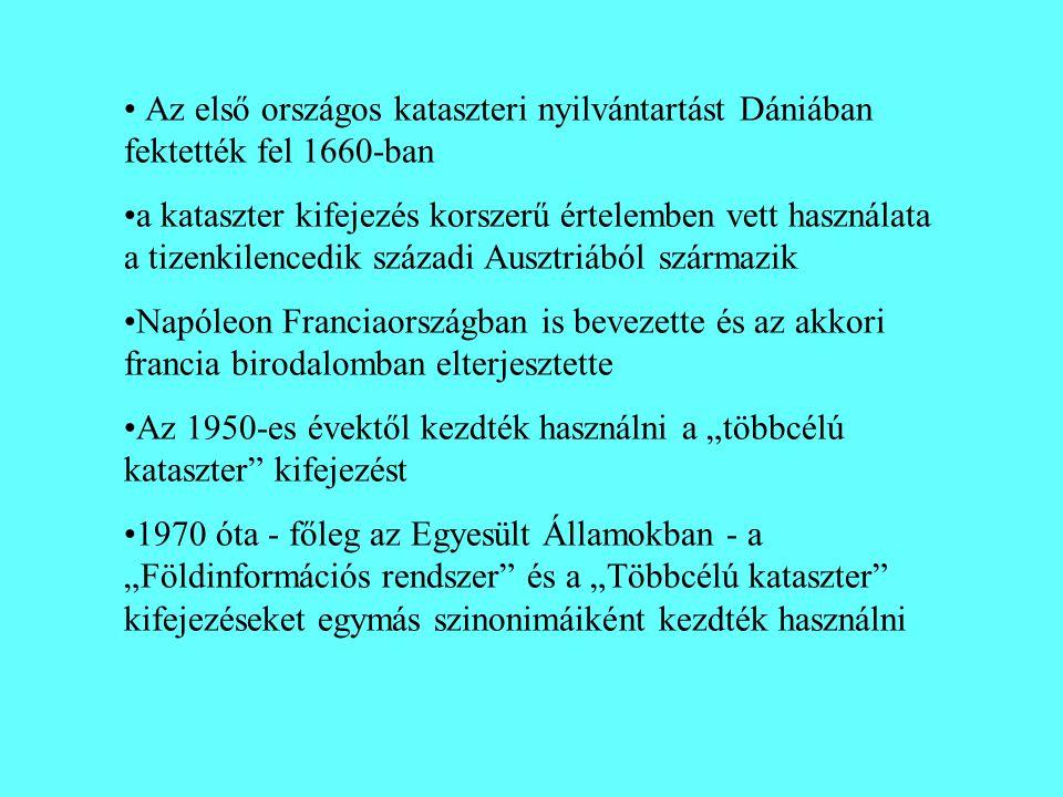 • Az első országos kataszteri nyilvántartást Dániában fektették fel 1660-ban •a kataszter kifejezés korszerű értelemben vett használata a tizenkilence