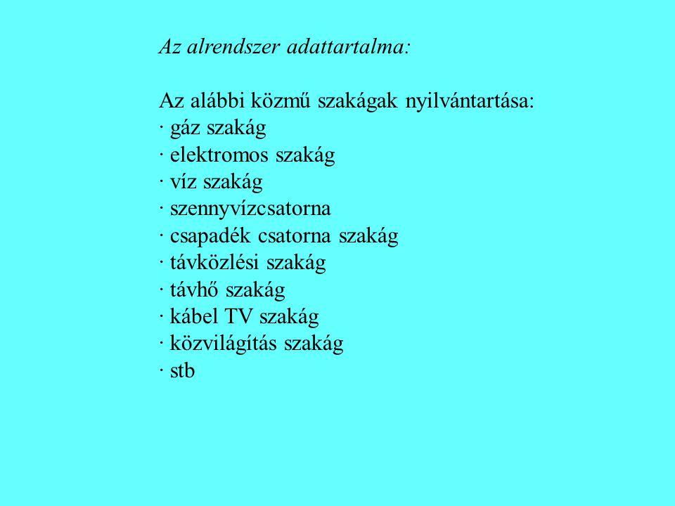 Az alrendszer adattartalma: Az alábbi közmű szakágak nyilvántartása: · gáz szakág · elektromos szakág · víz szakág · szennyvízcsatorna · csapadék csat