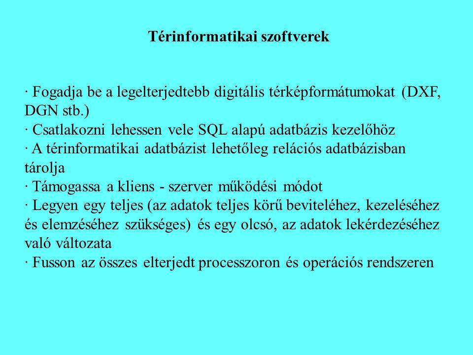 Térinformatikai szoftverek · Fogadja be a legelterjedtebb digitális térképformátumokat (DXF, DGN stb.) · Csatlakozni lehessen vele SQL alapú adatbázis