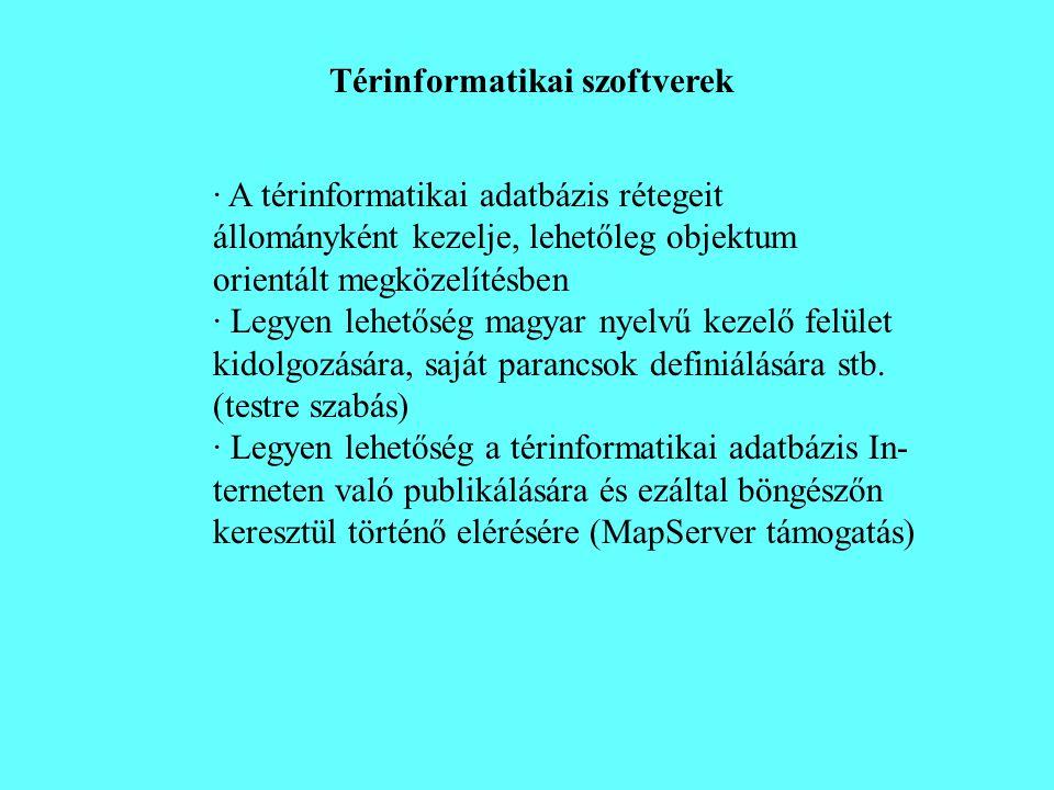 Térinformatikai szoftverek · A térinformatikai adatbázis rétegeit állományként kezelje, lehetőleg objektum orientált megközelítésben · Legyen lehetősé