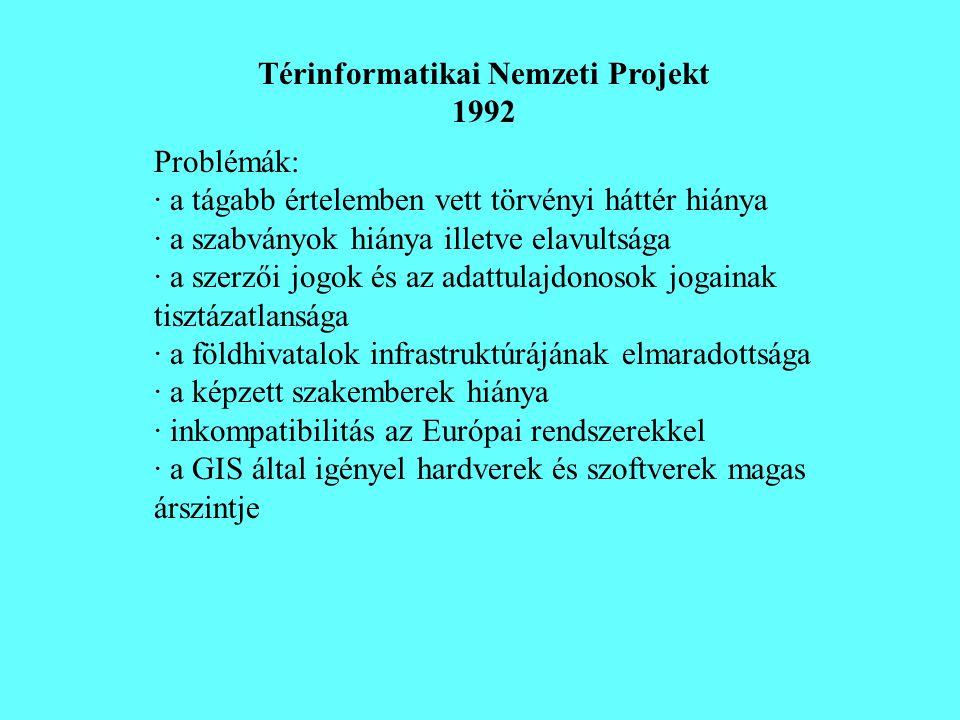 Térinformatikai Nemzeti Projekt 1992 Problémák: · a tágabb értelemben vett törvényi háttér hiánya · a szabványok hiánya illetve elavultsága · a szerző