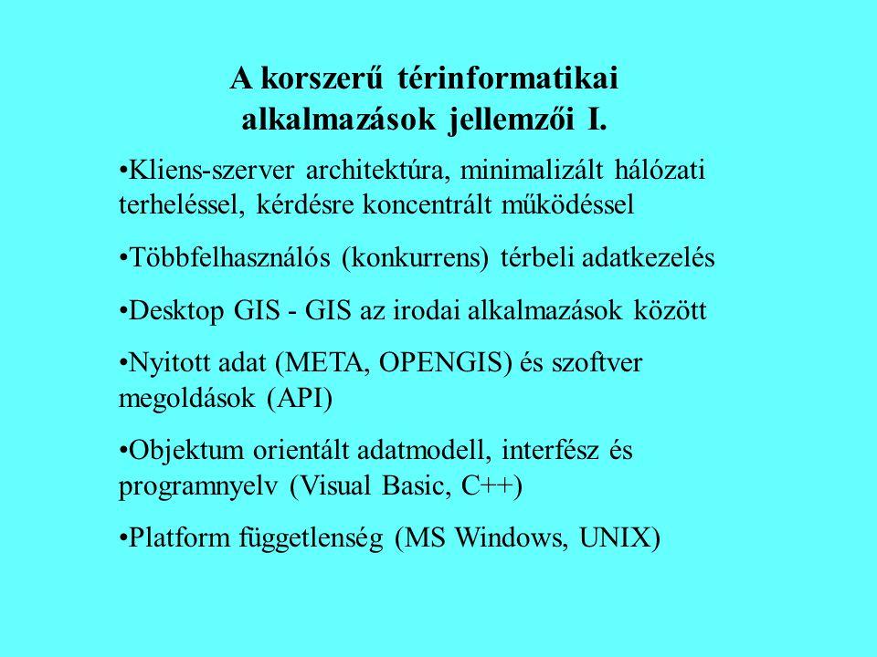 A korszerű térinformatikai alkalmazások jellemzői I. •Kliens-szerver architektúra, minimalizált hálózati terheléssel, kérdésre koncentrált működéssel