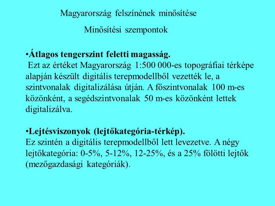 Minősítési szempontok Magyarország felszínének minősítése •Átlagos tengerszint feletti magasság. Ezt az értéket Magyarország 1:500 000-es topográfiai