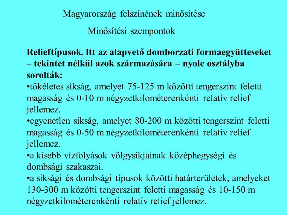 Minősítési szempontok Magyarország felszínének minősítése Relieftípusok. Itt az alapvető domborzati formaegyütteseket – tekintet nélkül azok származás