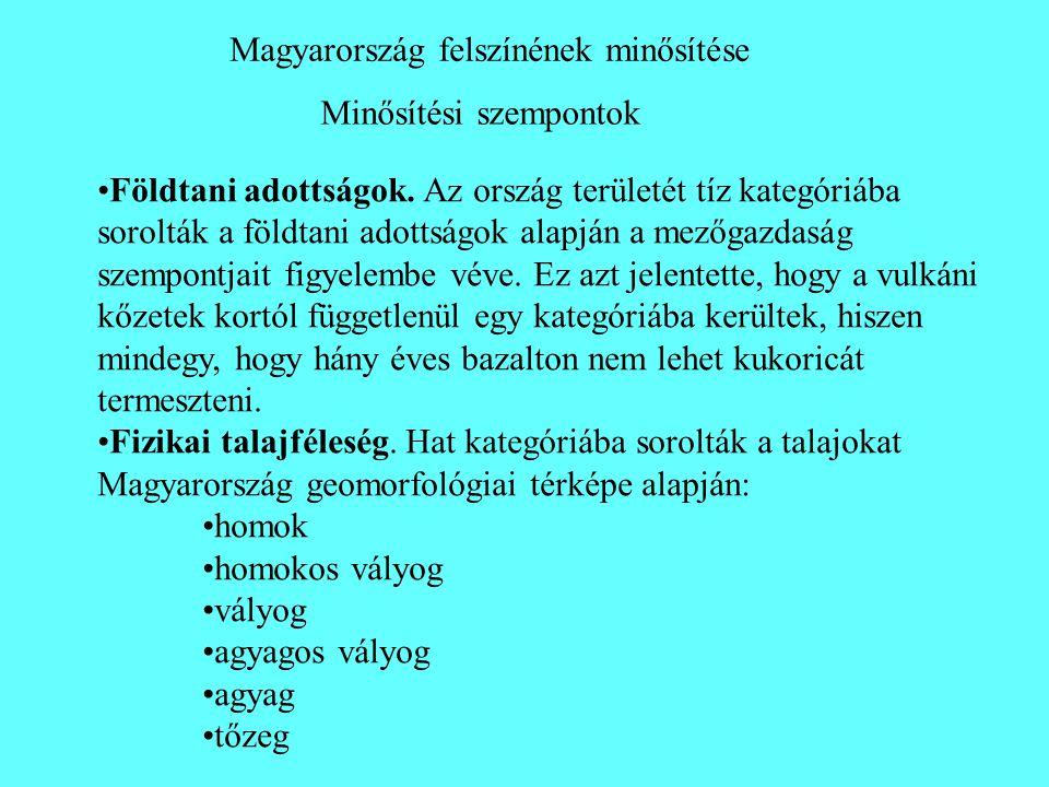 Minősítési szempontok Magyarország felszínének minősítése •Földtani adottságok. Az ország területét tíz kategóriába sorolták a földtani adottságok ala