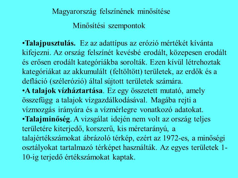 Minősítési szempontok Magyarország felszínének minősítése •Talajpusztulás. Ez az adattípus az erózió mértékét kívánta kifejezni. Az ország felszínét k
