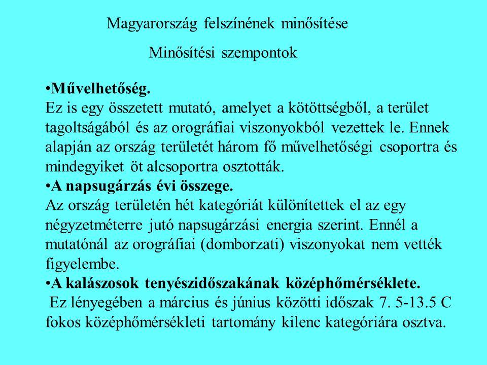 Minősítési szempontok Magyarország felszínének minősítése •Művelhetőség. Ez is egy összetett mutató, amelyet a kötöttségből, a terület tagoltságából é