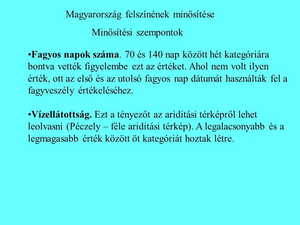 Minősítési szempontok Magyarország felszínének minősítése •Fagyos napok száma. 70 és 140 nap között hét kategóriára bontva vették figyelembe ezt az ér