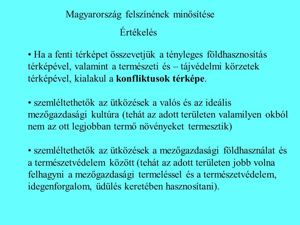 Értékelés Magyarország felszínének minősítése • Ha a fenti térképet összevetjük a tényleges földhasznosítás térképével, valamint a természeti és – táj