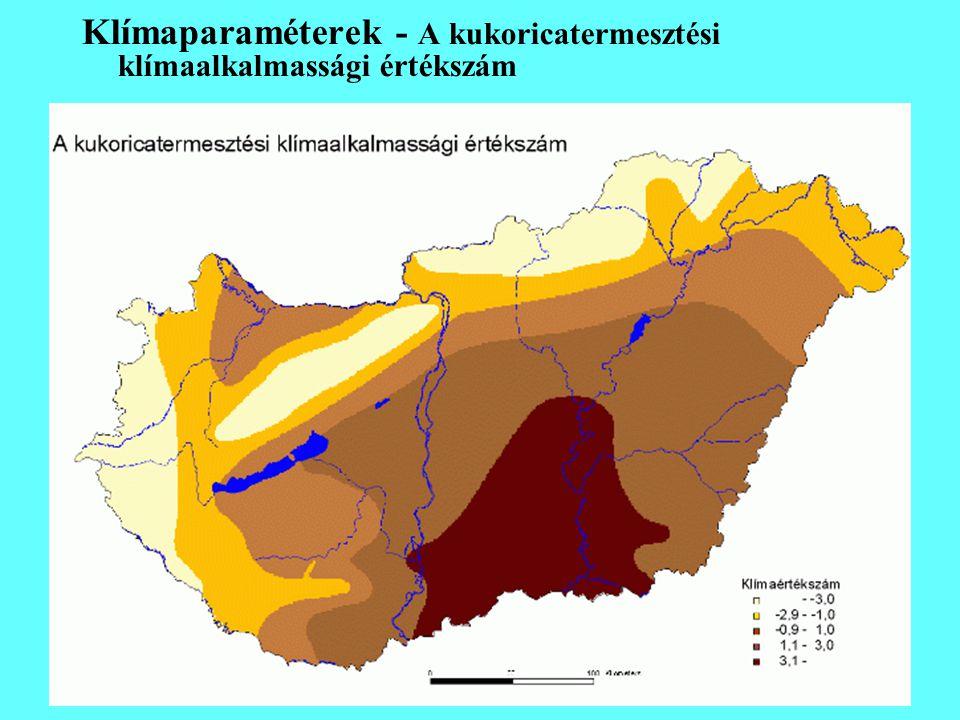 Klímaparaméterek - A kukoricatermesztési klímaalkalmassági értékszám