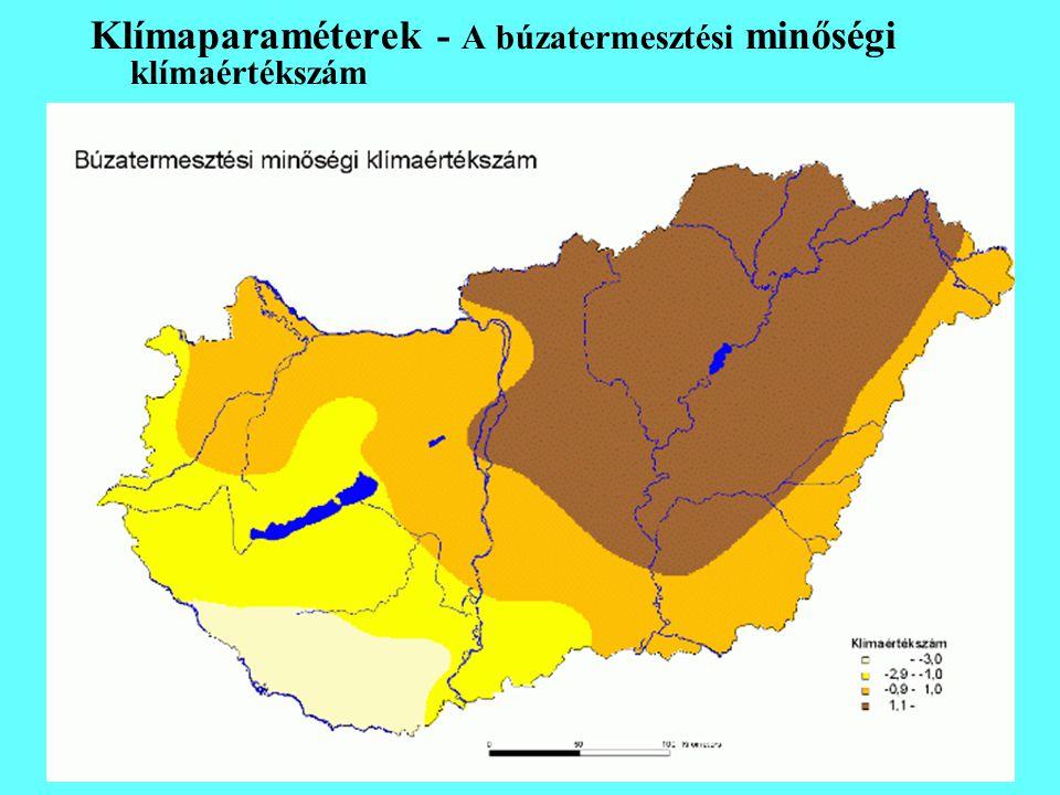 Klímaparaméterek - A búzatermesztési minőségi klímaértékszám