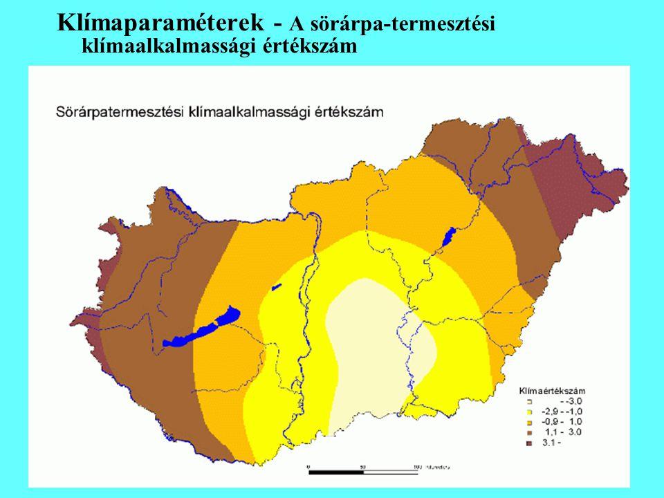Klímaparaméterek - A sörárpa-termesztési klímaalkalmassági értékszám