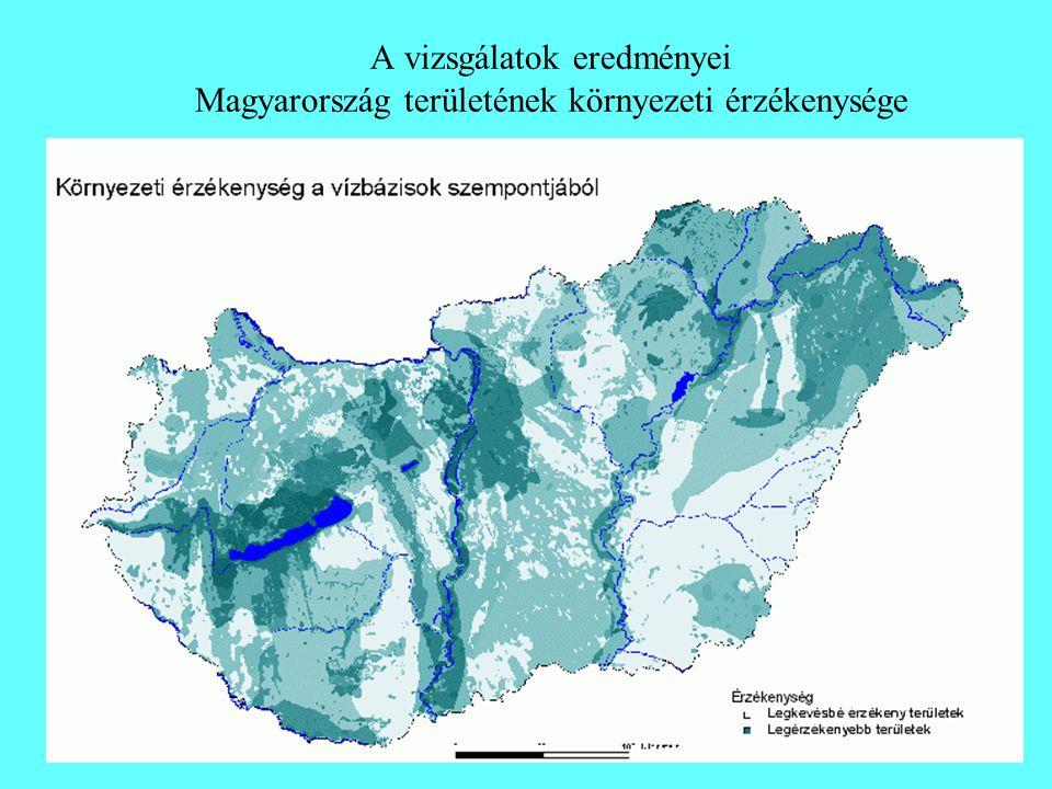 A vizsgálatok eredményei Magyarország területének környezeti érzékenysége