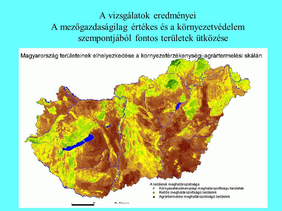 A vizsgálatok eredményei A mezőgazdaságilag értékes és a környezetvédelem szempontjából fontos területek ütközése