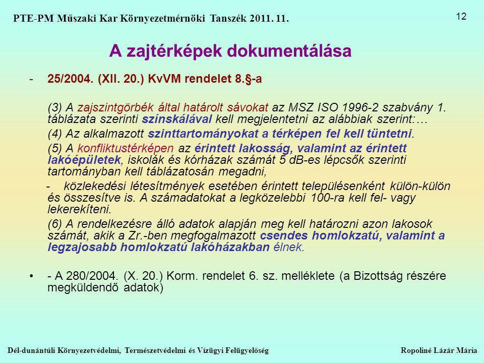 A zajtérképek dokumentálása -25/2004.(XII.