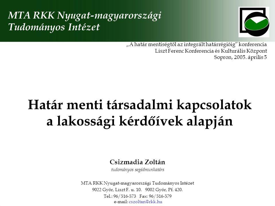 """Határ menti társadalmi kapcsolatok a lakossági kérdőívek alapján """"A határ mentiségtől az integrált határrégióig konferencia Liszt Ferenc Konferencia és Kulturális Központ Sopron, 2005."""