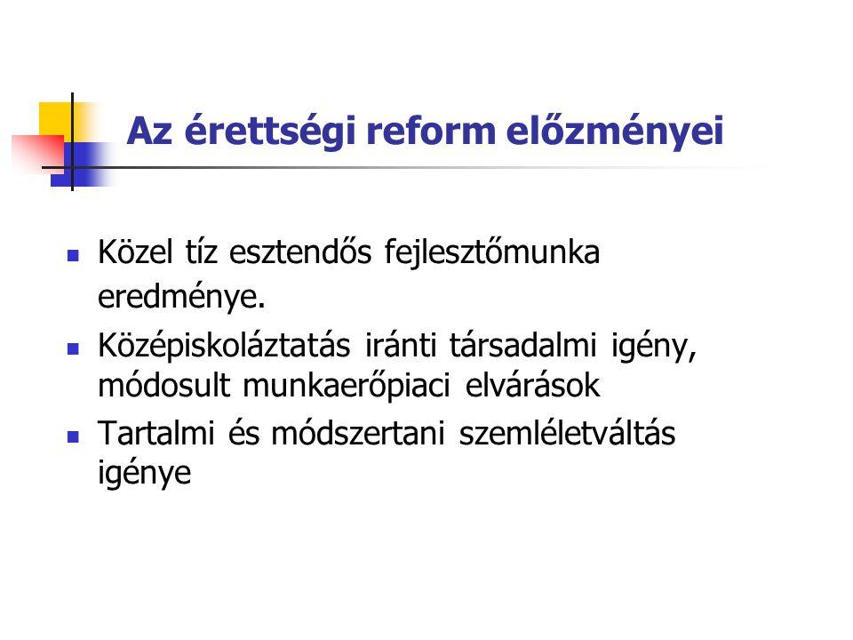 Az érettségi reform előzményei  Közel tíz esztendős fejlesztőmunka eredménye.