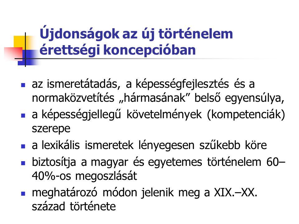 """Újdonságok az új történelem érettségi koncepcióban  az ismeretátadás, a képességfejlesztés és a normaközvetítés """"hármasának belső egyensúlya,  a képességjellegű követelmények (kompetenciák) szerepe  a lexikális ismeretek lényegesen szűkebb köre  biztosítja a magyar és egyetemes történelem 60– 40%-os megoszlását  meghatározó módon jelenik meg a XIX.–XX."""