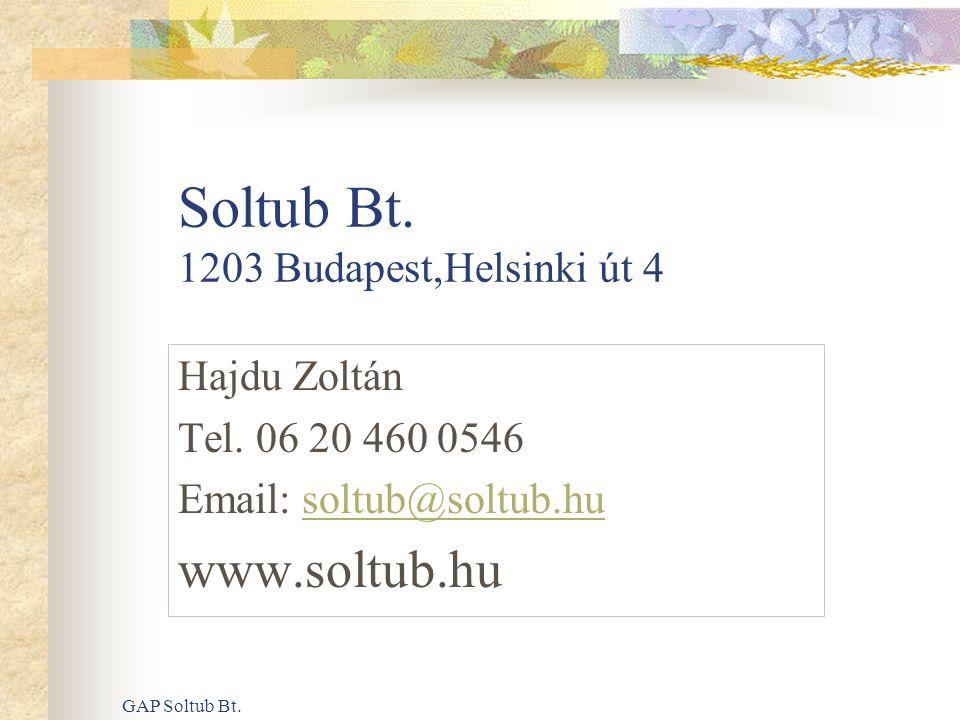 GAP Soltub Bt. Soltub Bt. 1203 Budapest,Helsinki út 4 Hajdu Zoltán Tel. 06 20 460 0546 Email: soltub@soltub.husoltub@soltub.hu www.soltub.hu