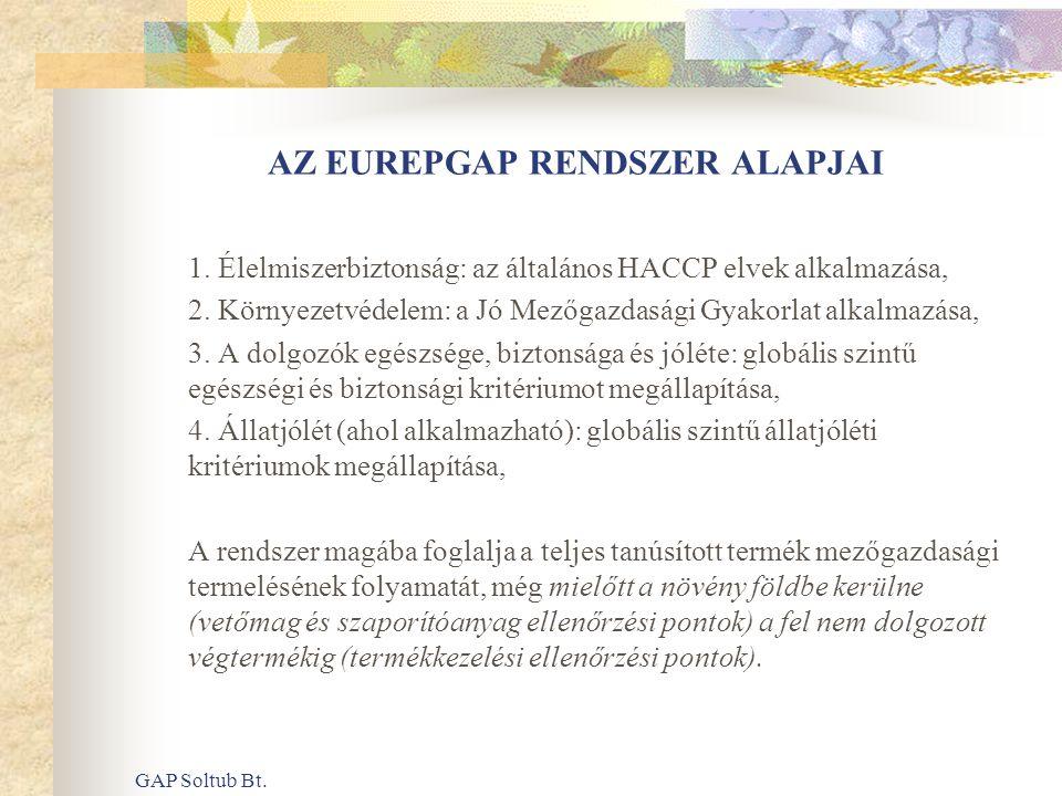 GAP Soltub Bt. AZ EUREPGAP RENDSZER ALAPJAI 1. Élelmiszerbiztonság: az általános HACCP elvek alkalmazása, 2. Környezetvédelem: a Jó Mezőgazdasági Gyak