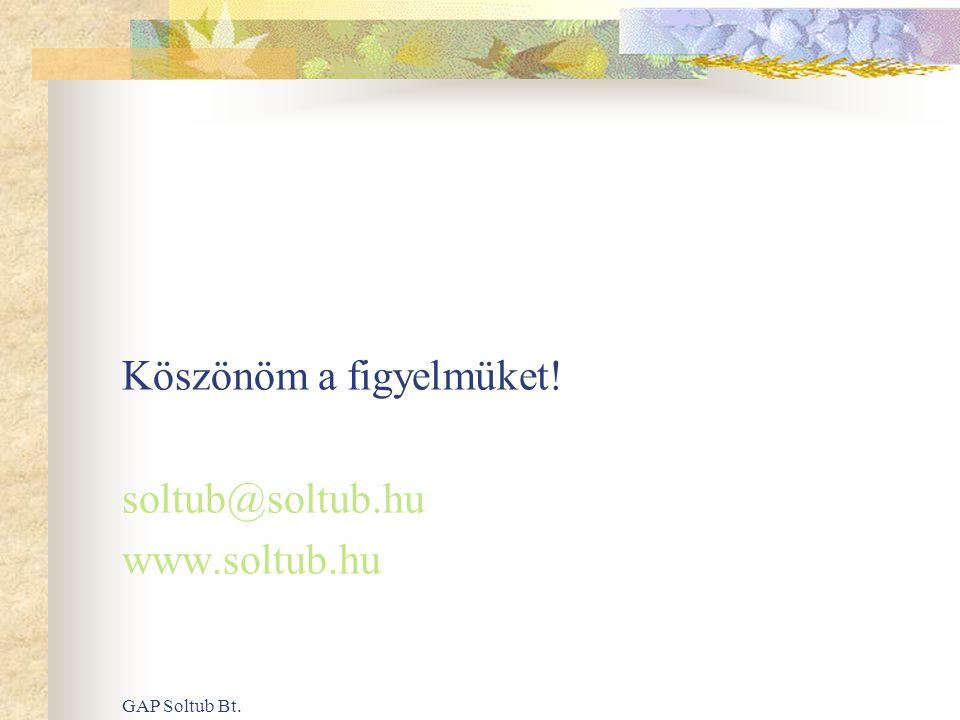 GAP Soltub Bt. Köszönöm a figyelmüket! soltub@soltub.hu www.soltub.hu
