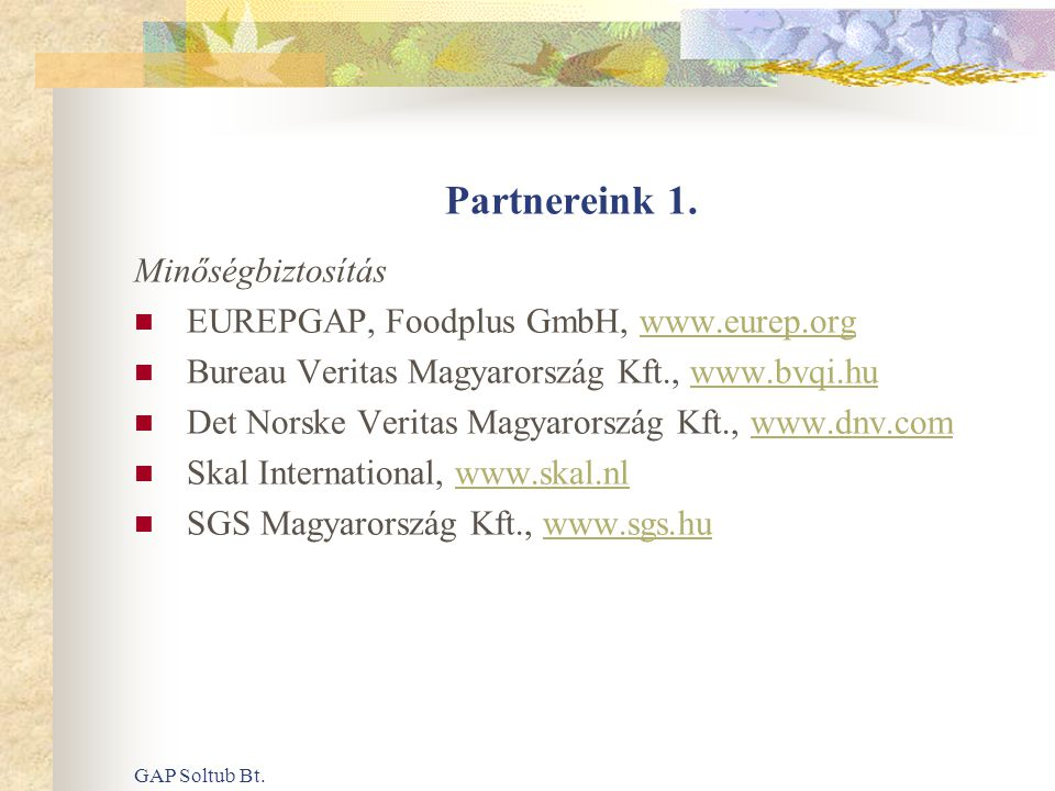 GAP Soltub Bt. Partnereink 1. Minőségbiztosítás  EUREPGAP, Foodplus GmbH, www.eurep.orgwww.eurep.org  Bureau Veritas Magyarország Kft., www.bvqi.huw