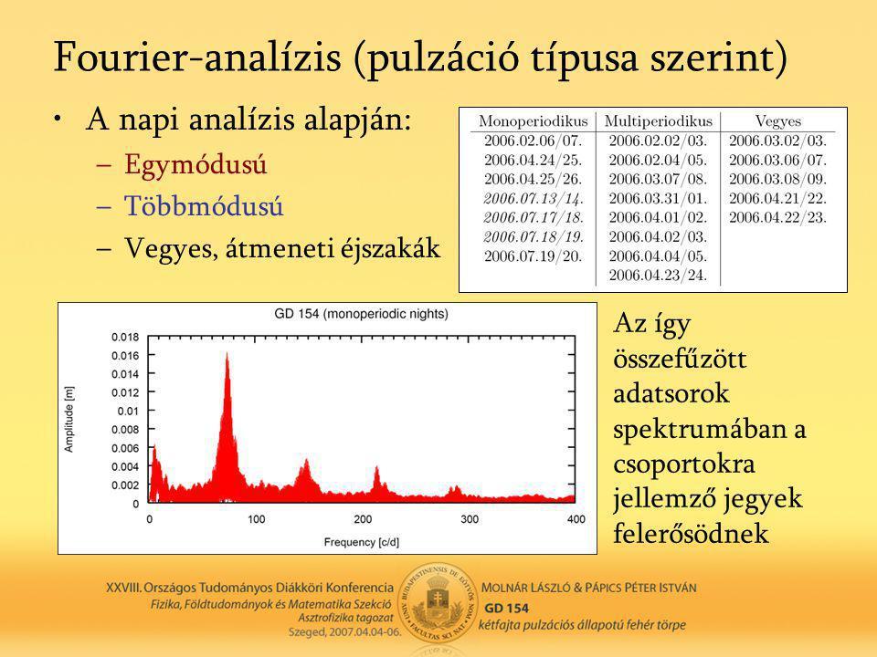 Fourier-analízis (pulzáció típusa szerint) •A napi analízis alapján: –Egymódusú –Többmódusú –Vegyes, átmeneti éjszakák Az így összefűzött adatsorok spektrumában a csoportokra jellemző jegyek felerősödnek