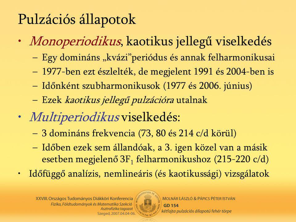 """Pulzációs állapotok •Monoperiodikus, kaotikus jellegű viselkedés –Egy domináns """"kvázi periódus és annak felharmonikusai –1977-ben ezt észlelték, de megjelent 1991 és 2004-ben is –Időnként szubharmonikusok (1977 és 2006."""