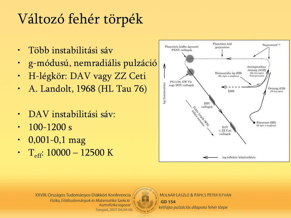 •Több instabilitási sáv •g-módusú, nemradiális pulzáció •H-légkör: DAV vagy ZZ Ceti •A. Landolt, 1968 (HL Tau 76) •DAV instabilitási sáv: •100-1200 s