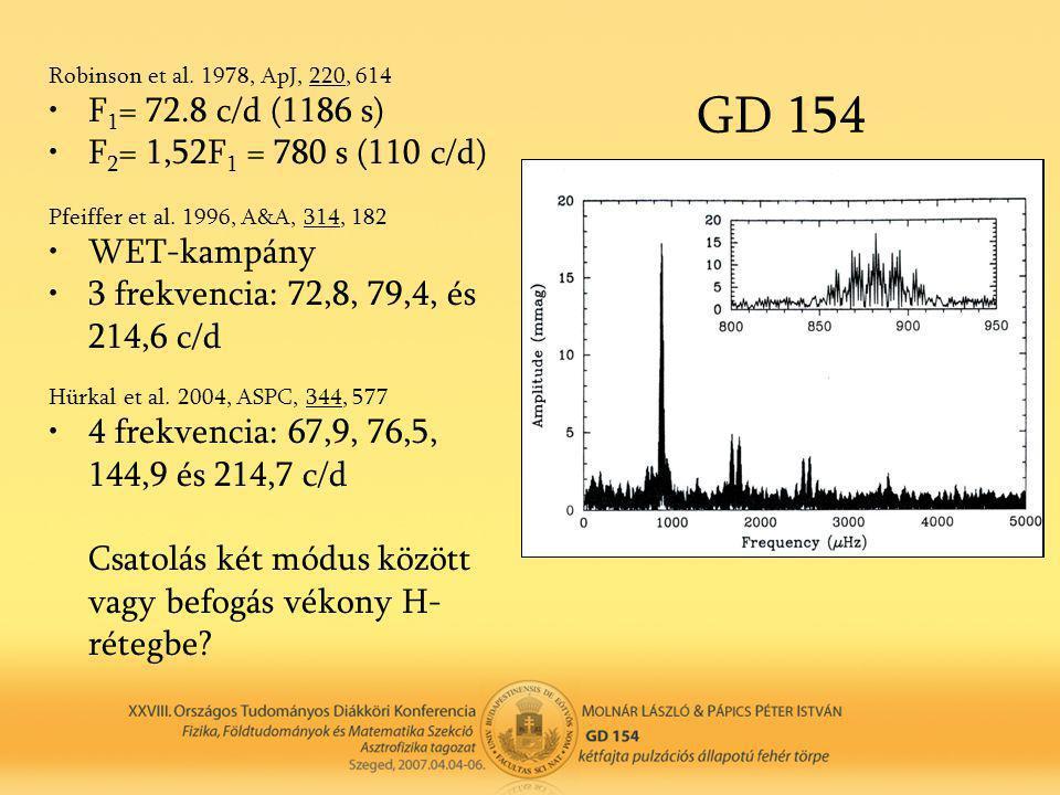 GD 154 Robinson et al. 1978, ApJ, 220, 614 •F 1 = 72.8 c/d (1186 s) •F 2 = 1,52F 1 = 780 s (110 c/d) Pfeiffer et al. 1996, A&A, 314, 182 •WET-kampány