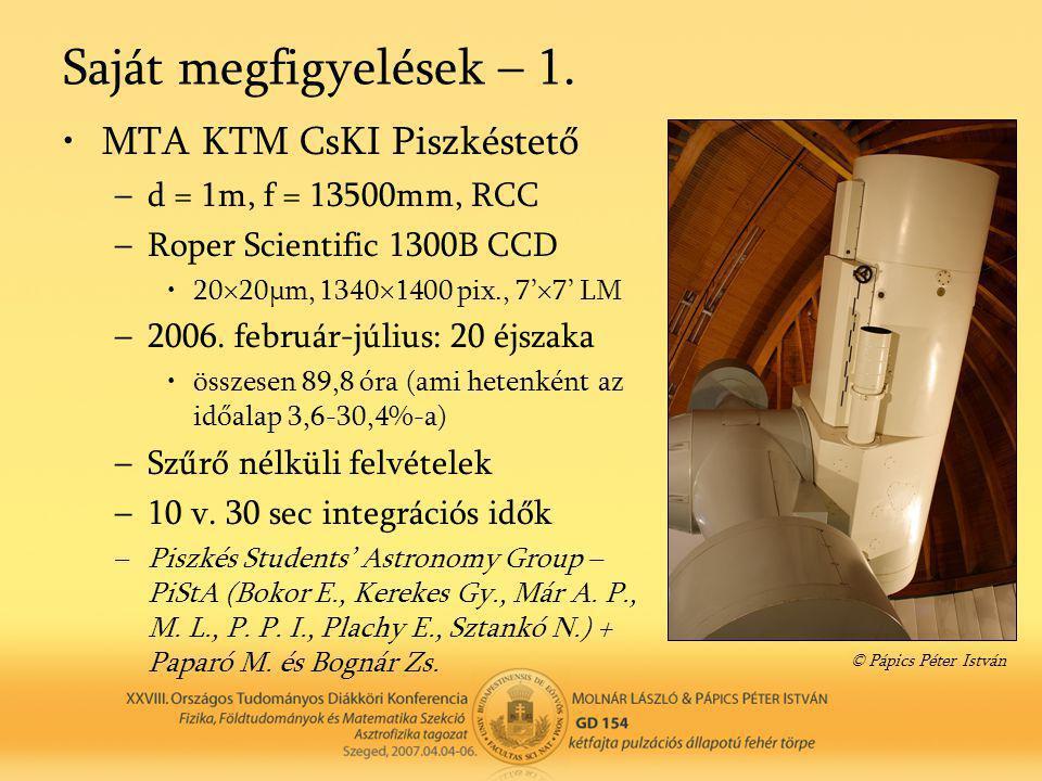 Saját megfigyelések – 1. •MTA KTM CsKI Piszkéstető –d = 1m, f = 13500mm, RCC –Roper Scientific 1300B CCD •20×20μm, 1340×1400 pix., 7'×7' LM –2006. feb