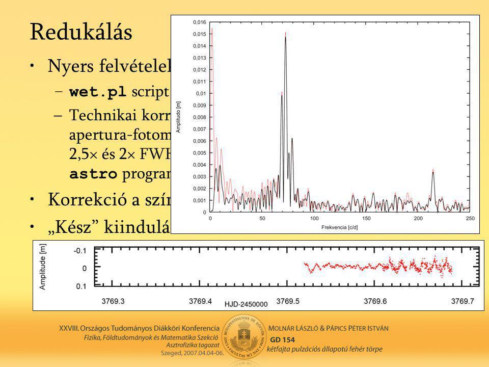 Redukálás •Nyers felvételek kiértékelése – IRAF –wet.pl script (Csubry Z., Zsuffa D.) –Technikai korrekciók (bias, dark, flat), képek összetolása, ape