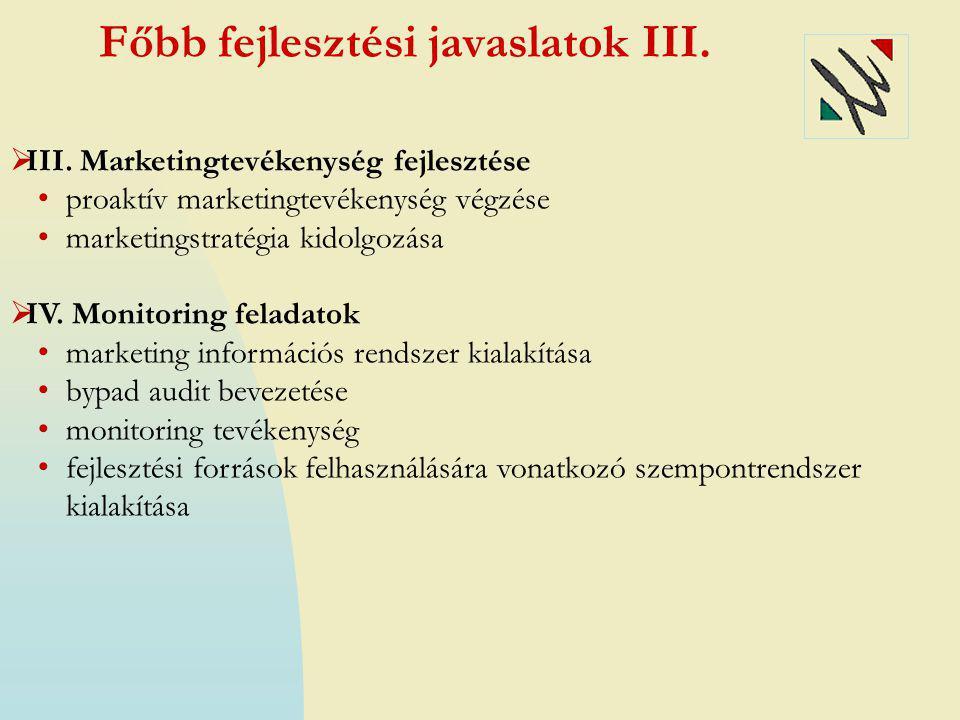 Főbb fejlesztési javaslatok III.  III. Marketingtevékenység fejlesztése • proaktív marketingtevékenység végzése • marketingstratégia kidolgozása  IV