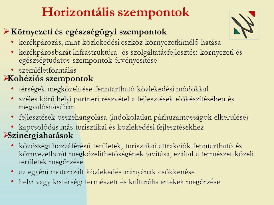Horizontális szempontok  Környezeti és egészségügyi szempontok • kerékpározás, mint közlekedési eszköz környezetkímélő hatása • kerékpárosbarát infra